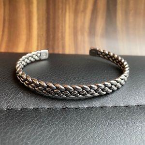 Sterling Silver Woven Cuff Bangle